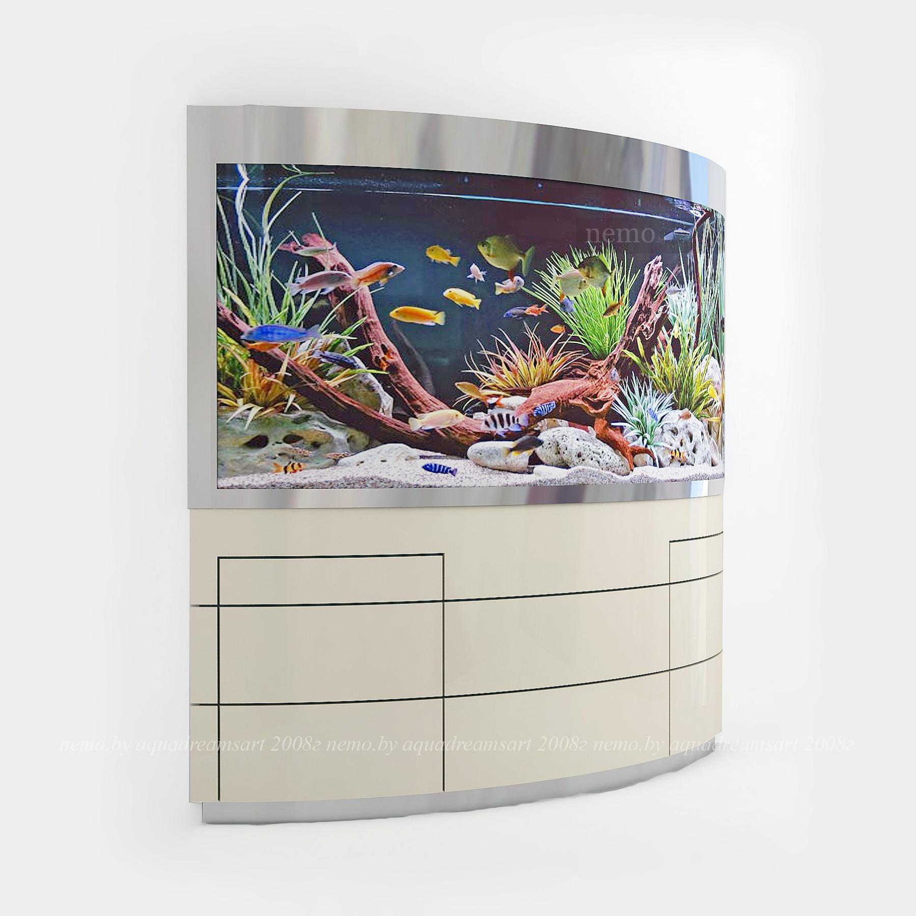 Частично встроенный аквариум с гнутым стеклом