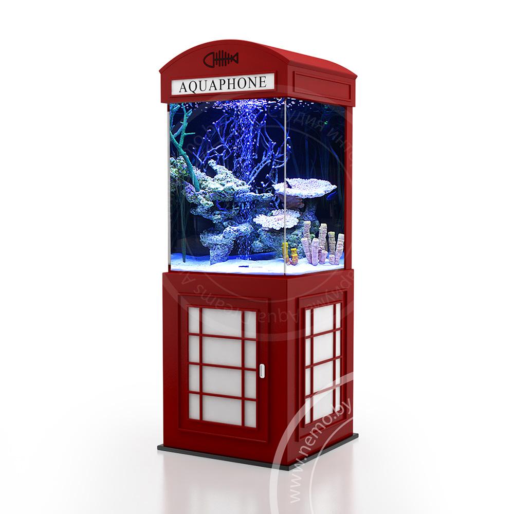 Аквариум стилизованный под лондонскую телефонную будку