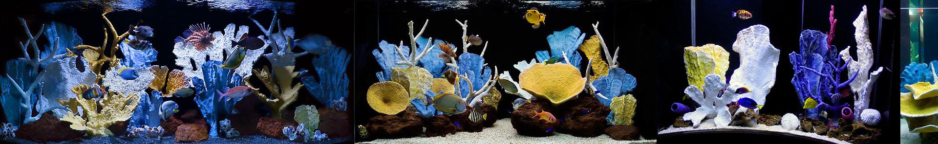 Искусственный коралловый риф в большом аквариуме